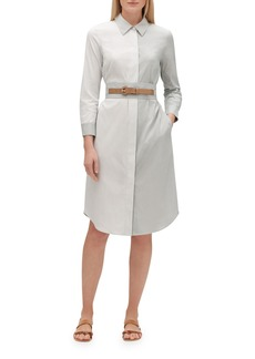 Lafayette 148 Peggy Parkside-Stripe Button-Down Belted Cotton Shirtdress
