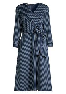 Lafayette 148 Penelope Series Striped Faux-Wrap Dress