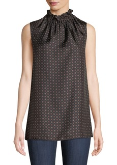 Lafayette 148 Percy Ruffled-Neck Sleeveless Foulard Silk Blouse