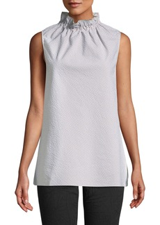 Lafayette 148 Percy Sleeveless Gingham Mock-Neck Blouse