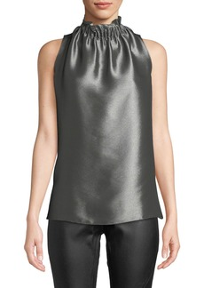 Lafayette 148 Percy Sleeveless Metallic Mock-Neck Blouse