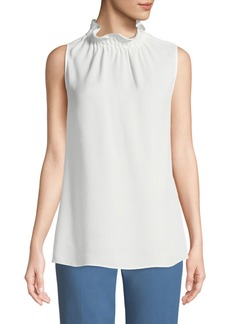 Lafayette 148 Percy Sleeveless Silk Mock-Neck Blouse