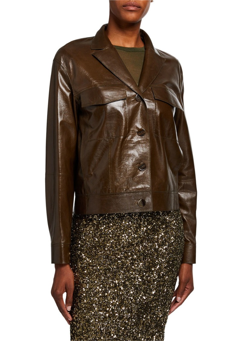 Lafayette 148 Peter Lacquered Lambskin Leather Button-Front Jacket