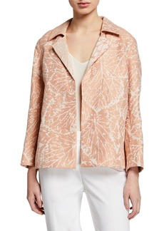 Lafayette 148 Phillipe Leaf-Print Open-Front Linen Jacket