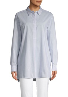 Lafayette 148 Pinstriped Cotton & Silk Blend Shirt