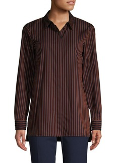 Lafayette 148 Pinstriped High-Low Cotton Shirt