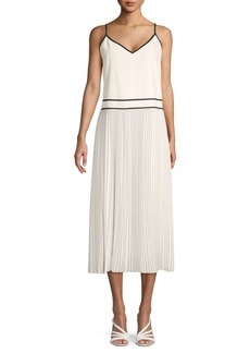Lafayette 148 Pleated Silk Blend Midi A-Line Dress