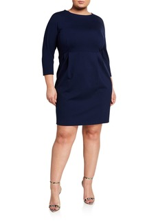 Lafayette 148 Plus Size 3/4-Sleeve Dolman Ponte Sheath Dress