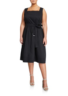 Lafayette 148 Plus Size Armilla Square-Neck Belted Dress