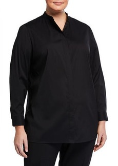 Lafayette 148 Plus Size Brayden Long-Sleeve Button-Down Blouse