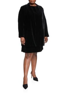 Lafayette 148 Plus Size Cecily Open-Front Velvet Jacket