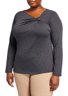 Lafayette 148 Plus Size Draped-Neck Top with Knot Detail