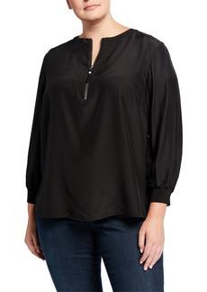 Lafayette 148 Plus Size Fantasia Matte Silk Blouse