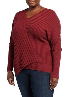 Lafayette 148 Plus Size Intersecting Rib Dolman-Sleeve Top