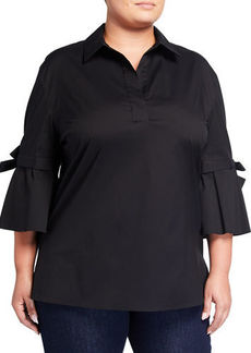 Lafayette 148 Plus Size Kinsley Cotton-Blend Blouse