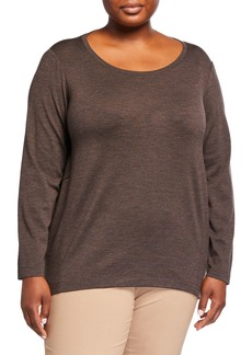 Lafayette 148 Plus Size Long-Sleeve Wool-Blend Top