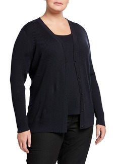 Lafayette 148 Plus Size Modern Rib-Knit Button-Front Cardigan