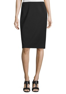 Lafayette 148 Plus Size Modern Slim Crepe Skirt  Black