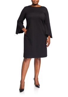 Lafayette 148 Plus Size Paloma Dress w/ Trumpet Sleeves