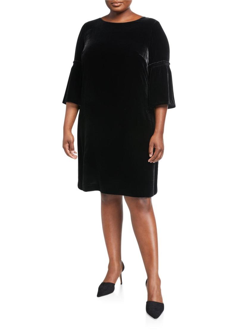 Lafayette 148 Plus Size Roslin Round-Neck Bell-Sleeve Velvet Shift Dress