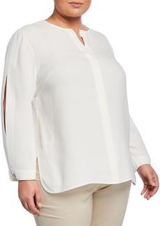 Lafayette 148 Plus Size Rowan Slit-Sleeve Silk Blouse