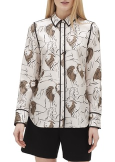 Lafayette 148 Plus Size Scottie Italia Leo-Print Button-Front Silk Blouse