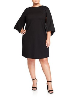 Lafayette 148 Plus Size Split-Sleeve Shift Dress