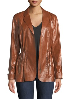 Lafayette 148 Porsha Lacquered Lamb Leather Jacket