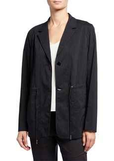 Lafayette 148 Porsha Sander Stripe Jacket w/ Adjustable Cord