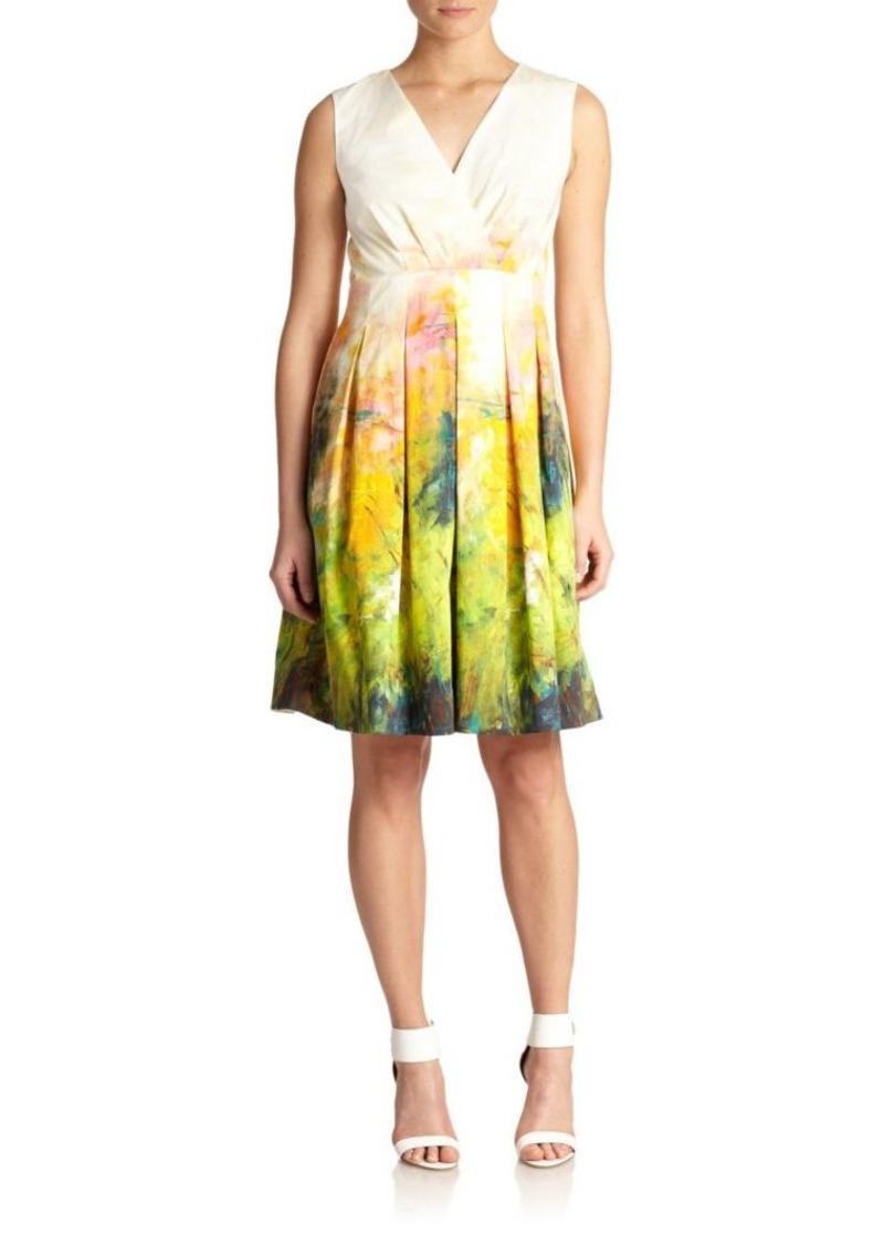 Lafayette 148 Printed Faux-Wrap Dress
