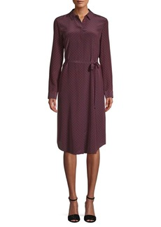 Lafayette 148 Printed Silk Knee-Length Shirtdress