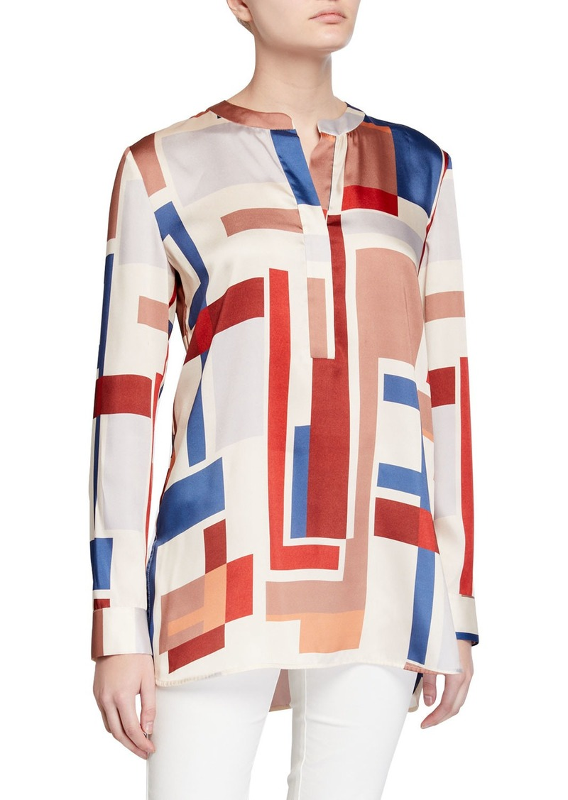 Lafayette 148 Prisha Colorblock Long-Sleeve Twill Blouse