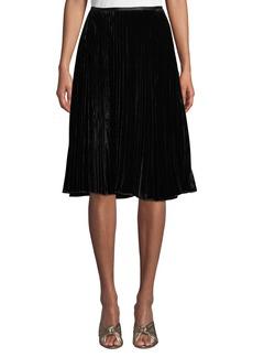 Lafayette 148 Ranella Pleated Velvet Skirt