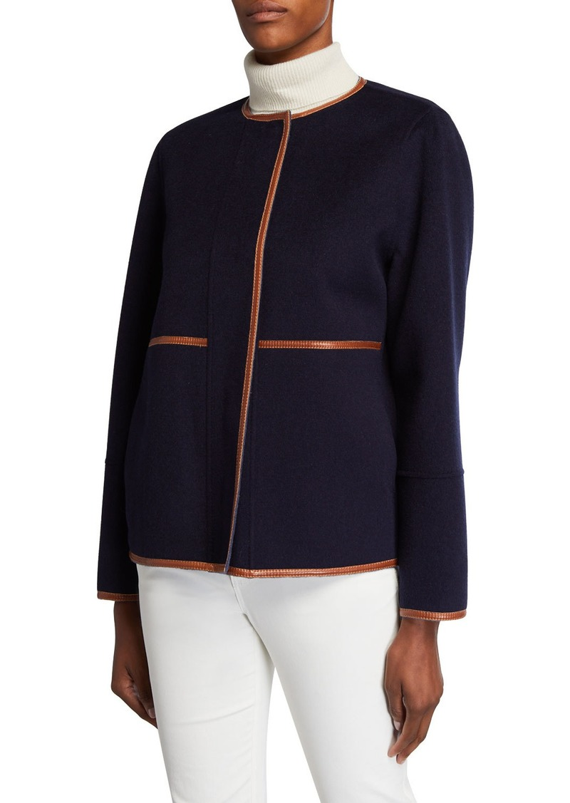 Lafayette 148 Rayen Reversible Two-Tone Jacket w/ Leather Trim