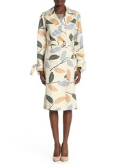 Lafayette 148 Rayna Leaf Print Belted Trench Coat