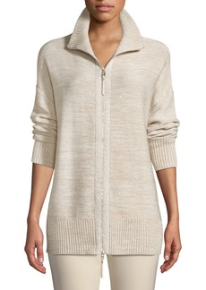 Lafayette 148 Relaxed Sequin  Italian Wool/Silk-Blend Zip-Up Cardigan