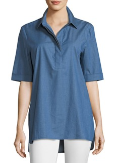 Lafayette 148 Rhea Stretch-Denim Blouse