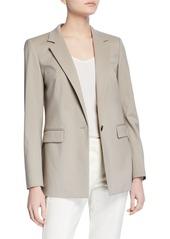 Lafayette 148 Rhoda One-Button Wool Blazer