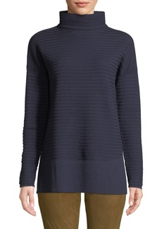 Lafayette 148 Rib Effect Wool Turtleneck