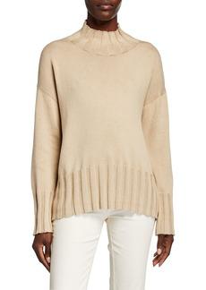 Lafayette 148 Rib-Trim Dropped-Shoulder Cotton/Silk Sweater