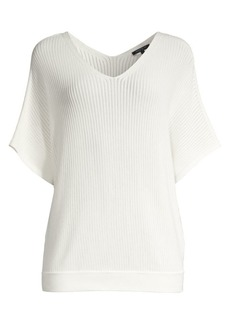 Lafayette 148 Ribbed Elbow Sleeve Sweater