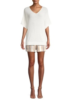 Lafayette 148 Ribbed Elbow-Sleeve Sweater