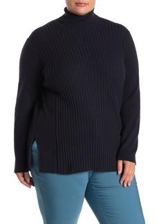 Lafayette 148 Ribbed Knit Turtleneck Cashmere Sweater (Plus Size)