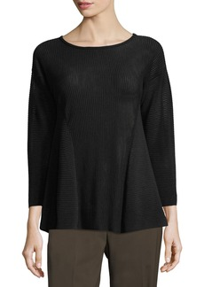 Lafayette 148 Ribbed Peplum 3/4-Sleeve Sweater