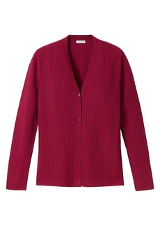 Lafayette 148 Ribbed Pointelle Button-Front Cardigan