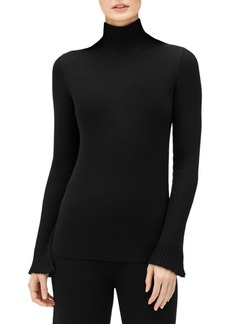 Lafayette 148 Ribbed Wool Bell-Sleeve Sweater