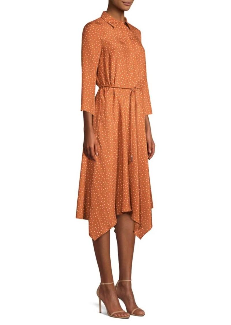 Lafayette 148 Rizzo Polka-Dot Belted Silk Midi Dress