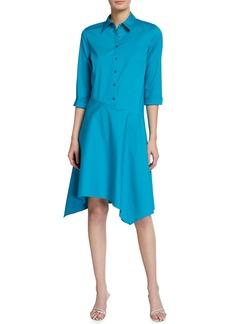 Lafayette 148 Rizzo Stretch Cotton Midi Shirt Dress