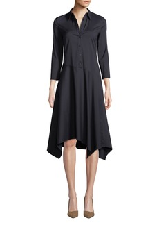 Lafayette 148 Rizzo Stretch Cotton Midi Shirt Dress