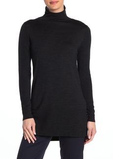 Lafayette 148 Rolled Funnel Neck Wool Tunic Sweater